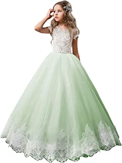 e56a13d5f8 Flower Girl Dress Kids Lace Beaded Pageant Ball Gowns