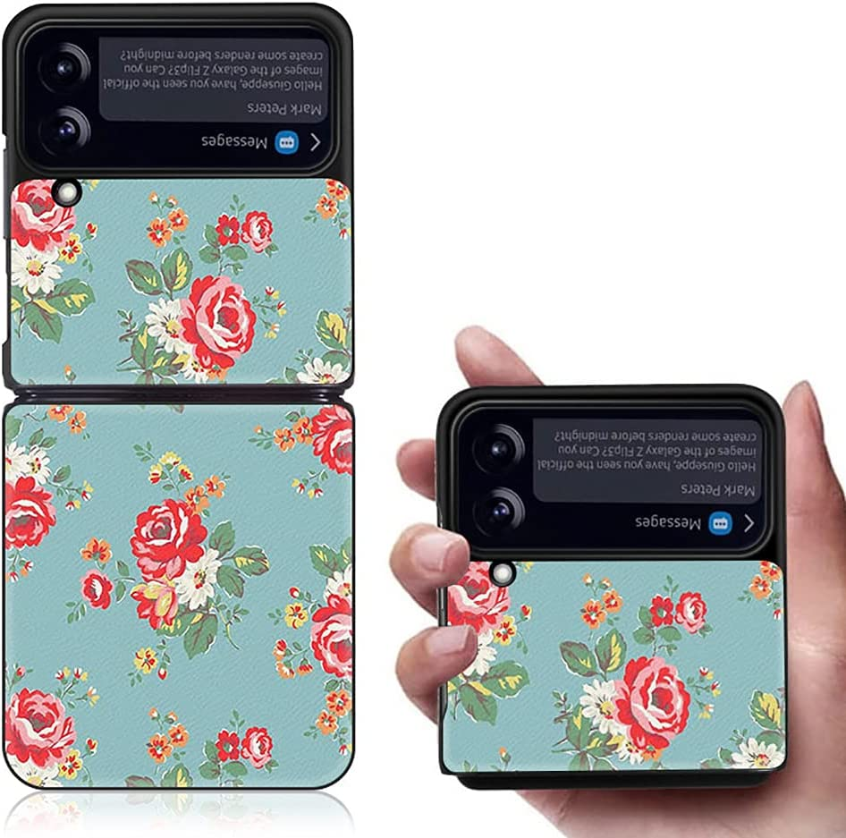 Yatchen Luxury Leather Case Apply to Samsung Galaxy Z Flip 3,Cute Pretty Flower Pattern for Women Dermatoglyph +Hard PC Bumper Flip Protector for Galaxy Z Flip 3 5G 2021 (Blue&Red)