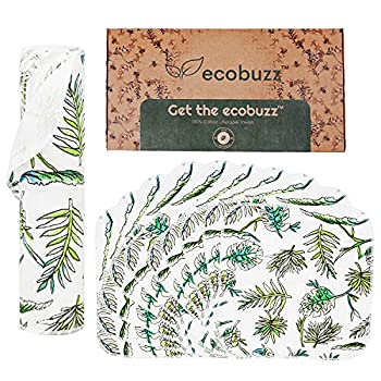 Unpaper Towels by Eco Buzz - Reusable Washable Zero Waste for Kitchen Thick and Strong Paperless Towel Alternative - Eco Nature Friendly 100% Cotton Cloth Absorbent Napkins  10 pack