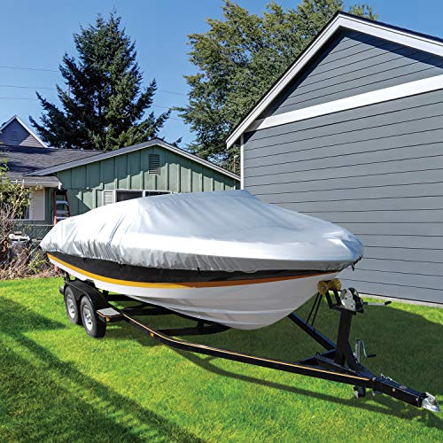 Taylor Made Products Moor 'n Stor 150 Denier UV Resistant Silver Coated Polyester V-Hull, Tri-Hull, Runabout, Fish Ski Boat Cover, 19' to 21' Boat Length, 102' Beam