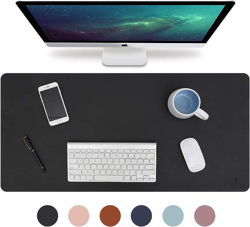 Knodel Desk Pad Office Desk Mat 31 5 X 15 7 PU Leather Desk Blotter Laptop Desk Mat Waterproof Desk Writing Pad For Office And Home Dual Sided Black Black