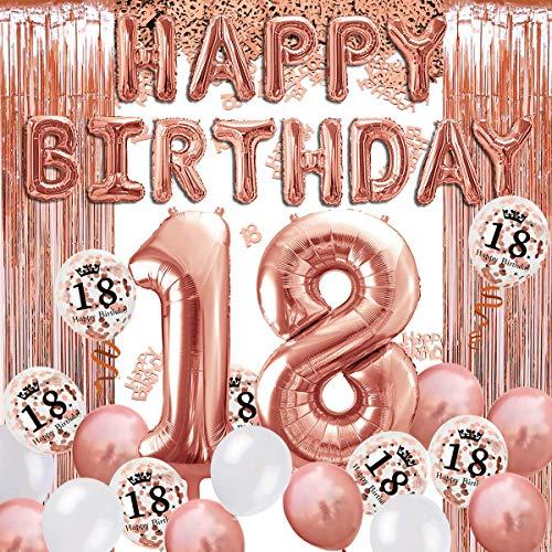 iZoeL 18 ans déco anniversaire or rose, bannière joyeux anniversaire, ballon hélium chiffres 18 XXL, Rideau à Franges or rose confettis latex numéro tableau deco confettis fille femmes