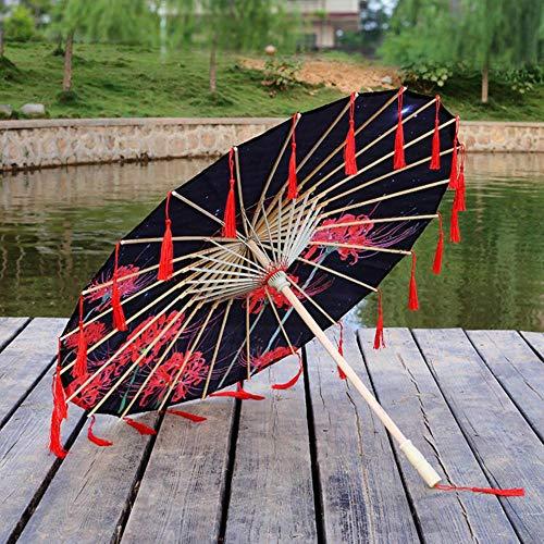 Piner Zijden Doek Kant Paraplu Vrouwen Kostuum Fotografie Props Kwastjes Paraplu Garen Chinese Klassieke Olie-papier Paraplu Parasol, YU rijst B
