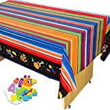 4 pcs Cinco De Mayo Print Plastic Tablecover Black Style (54 x 108 INCHES) for Fiesta, Taco Night, Birthday, and Mexican Themed Party