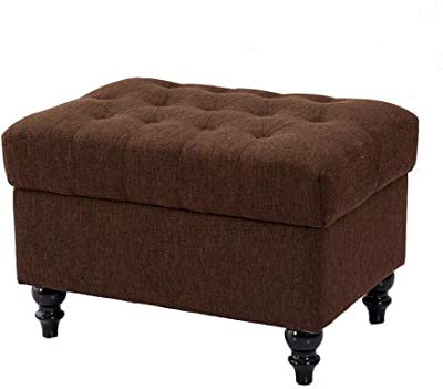 Surprising Amazon Com Elle Decor Quinn Round Tufted Ottoman With Creativecarmelina Interior Chair Design Creativecarmelinacom