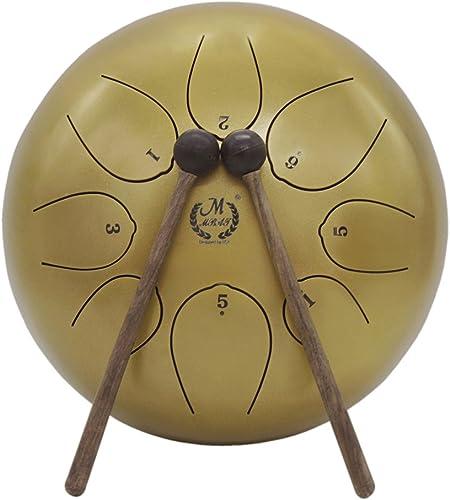 Muslady 10 pouces Tambour à languette en acier Instrument à percussion Tambour à la main avec baguettes de tambour Ca...