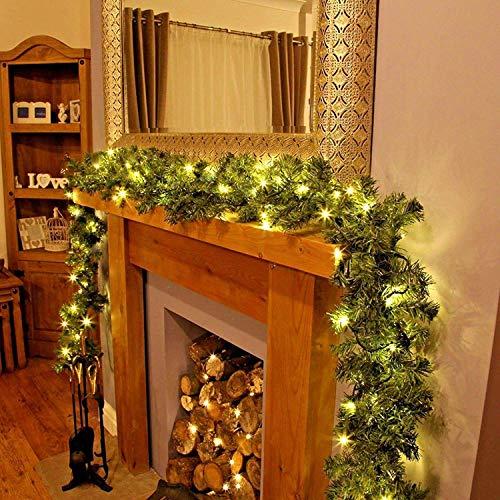 Garden Mile - Ghirlanda di Natale di lusso pre-decorata con luci, molto grande, spessa, 2,7 m (9 ft), con 50 luci LED con luce bianca calda/pigne di Natale su tutta la lunghezza