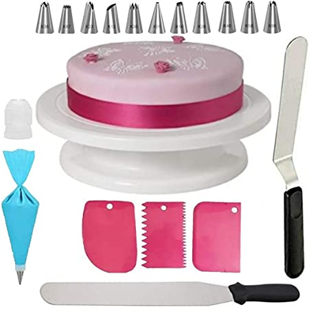 C&G INDIA Cake Combo of Cake Making Turn Table 7 inch Stainless Steel Spatula, 12 Piece of Cake Decoration nozzles with Icing Bag and 3 Pieces of Dough Scrapper