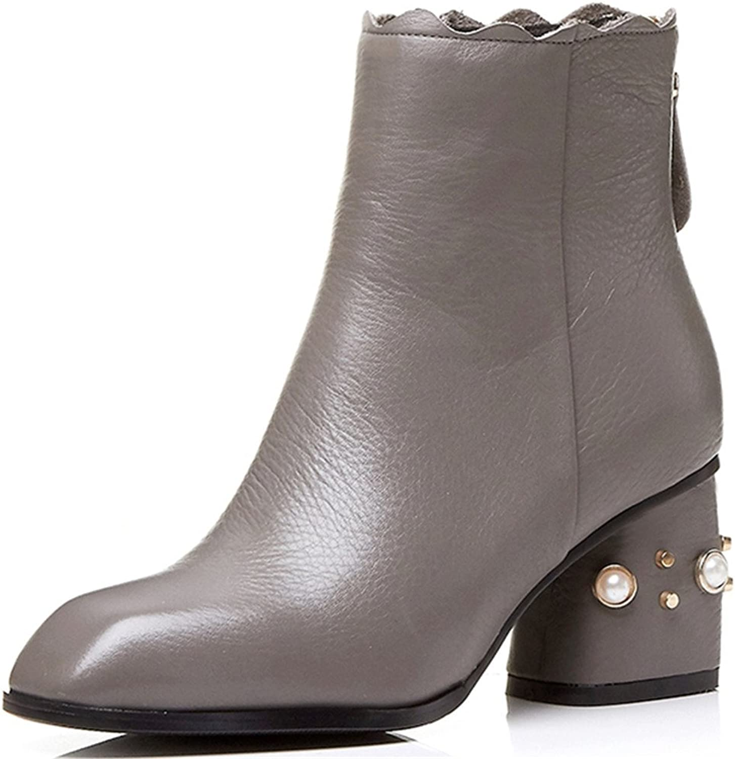 Nine Seven Genuine Leather Women's Square Toe Block Heel Zip Up Handmade Pearls Ankle Boots shoes New