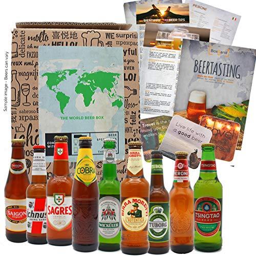 Biergeschenk als Geburtstagsgeschenk für Männer, ausgefallene Geschenkidee Bierweltreise mit 9 x 0,33l außergewöhnlichen Bieren aus aller Welt