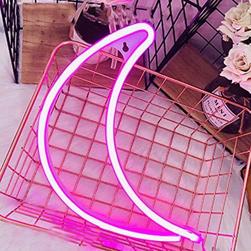 Letreros LED de luna con luces de neón para decoración de pared, USB o batería, panel trasero de acrílico para dormitorio, letrero de luz decorativa para boda, fiesta, niños, sala de estar, rosa