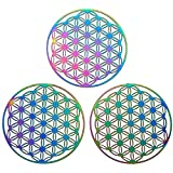 DanLingJewelry 50Pcs 201 Stainless Steel Etched Metal Embellishments Flower of Life Charms Pendants for Jewelry Making 40mm