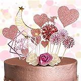 MMTX Unicornio Decoración de Tartas, Cake Topper Cumpleaños con Banner de Feliz Cumpleaños, Luna Resplandor, Unicornio, Abanicos de Papel, Estrellas, Cupcake Topper para Niña Niño Mujer, Oro Rosa