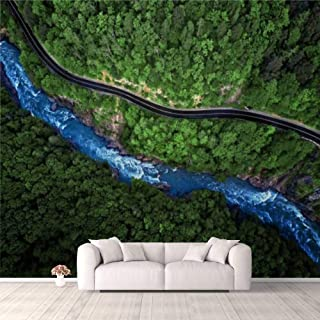 Modern 3D PVC Design Removable Wallpaper for Bedroom Living Room Mountain river and road aerial view Wallpaper Stick and P...