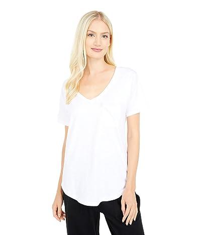 PACT Organic Cotton Slub Jersey Pocket Tee (White) Women