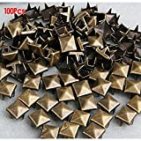 NaiCasy 100x 8mm Metal DIY Pirámide Tachuelas Remaches Gótico Bronce