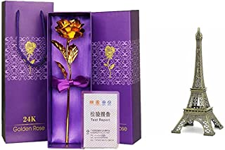 Msa Jewels Exclusive 24kK Certified Golden Rose with 10 cm Effie Tower Gift Box Combo Offer for Loved Ones