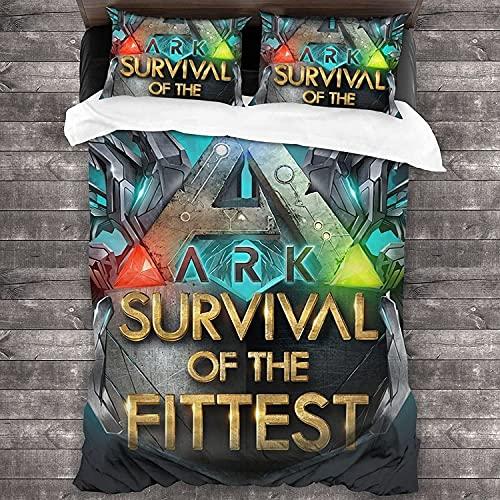 ARK: Survival Evolved Juego de funda nórdica infantil ARK Tema 1 funda nórdica 2 fundas de almohada, regalo para niños y niñas, microfibra, 135 x 200 cm (ARK3, 155 x 200 cm + 80 x 80 cm x 2)