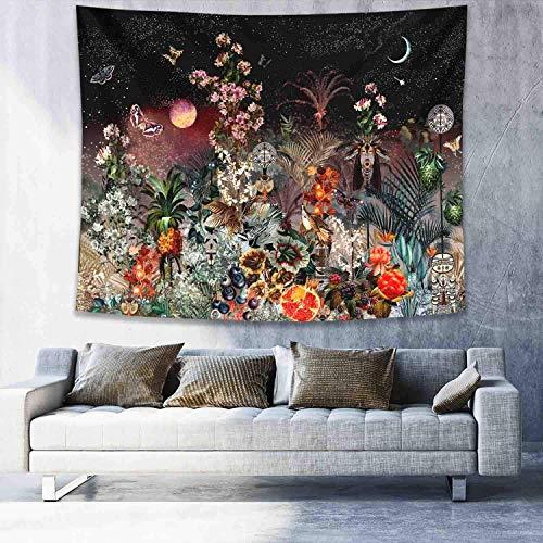 WERT Melissa Tapiz Colgante de Pared Flor de Margarita decoración de Pared Tapiz Colgante Pared de Dormitorio Tapiz Negro A4 180x200cm