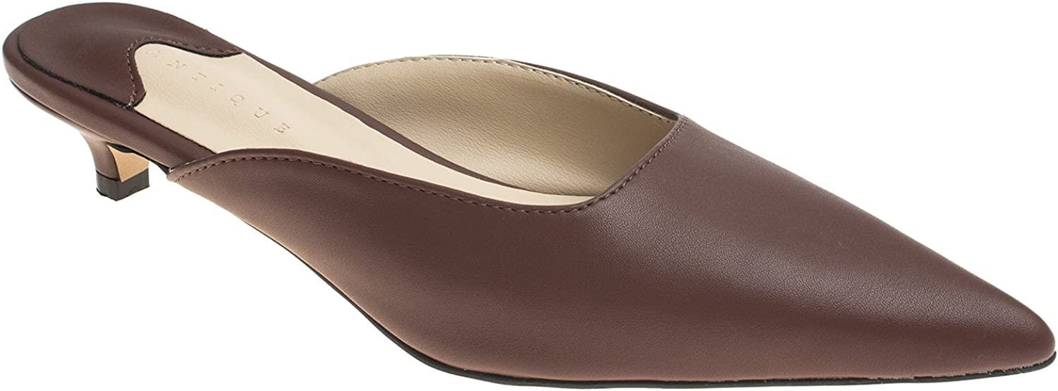 AnnaKastle Womens Pointy Toe Low Kitten Heel Mule Slide Sandal