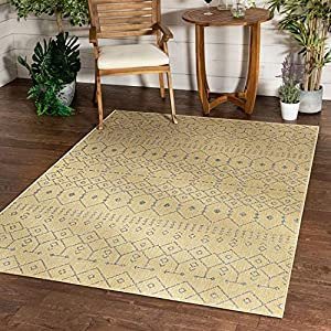 Well Woven Nors Yellow Indoor/Outdoor Flat Weave Pile Nordic Lattice Pattern Area Rug 5×7 (5'3″ x 7'3″)