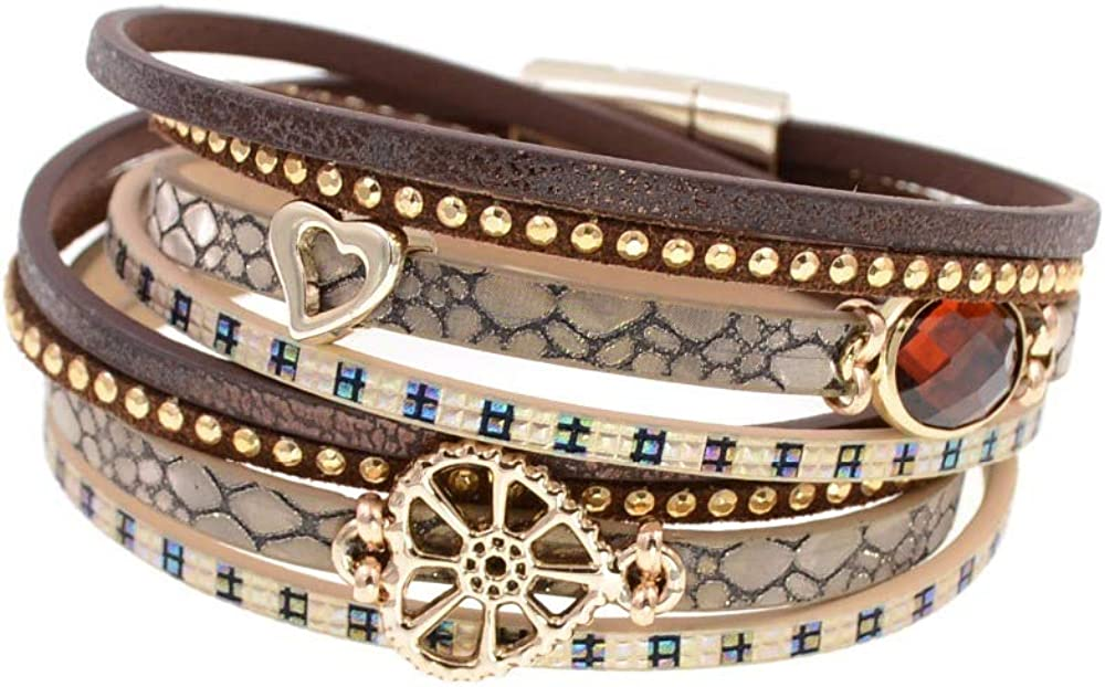 Leather Bracelets Glass Limited Sacramento Mall price Bracelet Wrap For Wome