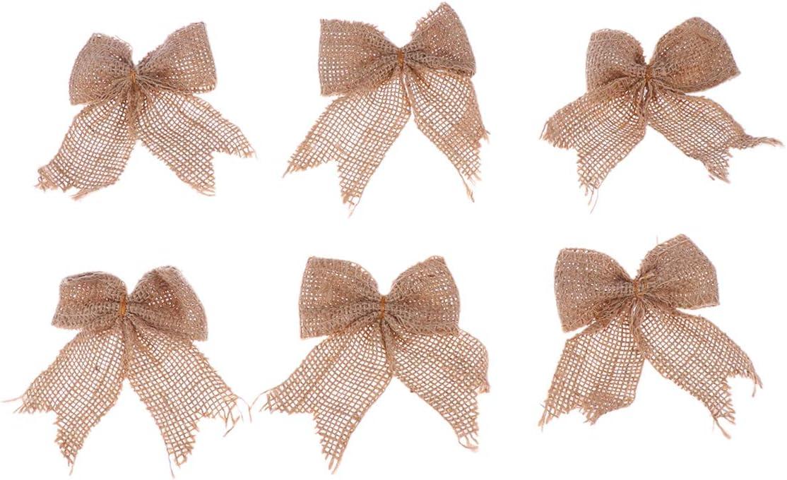 Healifty 6PCS Burlap Lace Luxury Bowknot DIY Award Set Jute Bows Embellishmen