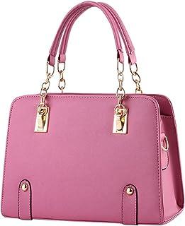 ZiXing Damen Kette Handtasche Tragetasche Damen Leder Messenger Bags Umhängetaschen Gummi rosa