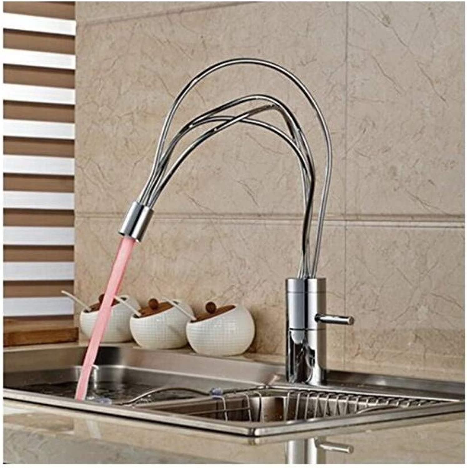 Vintage Plated Kitchen Faucet Modern Polish Chrome Kitchen Sink Faucet Vanity Single Handle Hold Led color Changing Mixer Tap