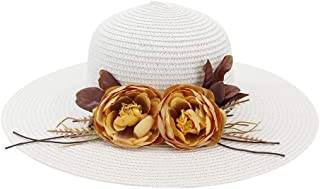 Lady's Sun hat Fashion Church Hat Summer Woman Fold Flower Sun Hat Beach Hat for UV Protection Chaff Hat Sun hat (Color : White, Size : 56-58CM)