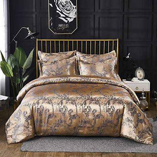 Styho Glamorous Duvet Cover Set Double Size European Luxury Satin Floral Jacquard Silky Quilt Cover and Silky Pillow Shams Bedding Sets (Double,Gold)
