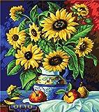 KSKD - Pinturas para kit numérico, pintura al óleo DIY, dibujo de tela con cepillos, decoración para regalos, flor del sol pintada senza cornice