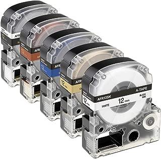 5 Colors Ribbon LK (LC) Label Tapes Compatible with LabelWorks LK-4WBK LK-4KBK LK-4HKK LC-4NKK LK-4BKK White/Gold/Navy/Brown/Black for Epson LW-300, LW-400 Label Makers, 1/2''