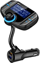 ORIA Bluetooth FM Transmitter for Car, Wireless Radio Transmitter Car Adapter, 1.7inch Screen, USB Car Charger with Quick Charging 3.0 + 5V/2.4A Dual USB Ports, AUX Music PlayerA
