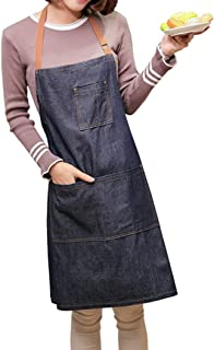 ZeMooon Cooking Apron for Women - Adjustable Chef Apron with 4 Pockets Perfect Kitchen Apron for Home, Restaurant, Cafe, Baking, Gardening (Denim)