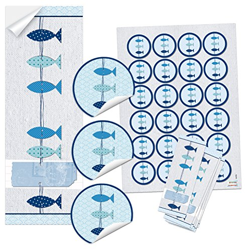 SET 25 + 24 blauw turquoise wit 3 vissen stickers - symbool doop communie bruiloft - maritiem cadeau-sticker tafelkaarten uitnodigingskaarten knutselen zelf maken verpakking