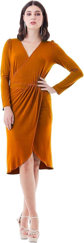 Viris Zamara Womens Elegant Long Sleeve V-Neck Pleated Wrap Pencil Midi Dress