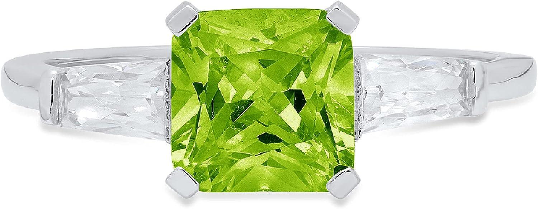 lowest price Clara Pucci 1.72 Square Emerald Baguette Solitaire 5 ☆ very popular A cut 3 stone