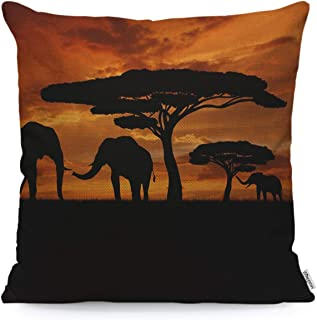 WONDERTIFY Throw Pillow Cover Case African Animal Elephants Family Walk Sunset,Soft Linen Pillow Case for Decorative Bedroom/Livingroom/Sofa/Farm House,Couch Pillow Cushion Covers 18x18 Inch 45x45 cm