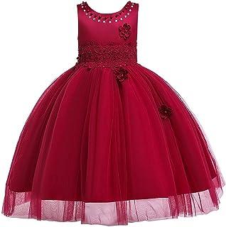 ガールズウェディングドレス 子供服2019子供のスカートの女の子のドレスクリスマスドレススカートメッシュチュチュ 誕生日イブニングボールガウン (色 : 赤, サイズ : 110cm)