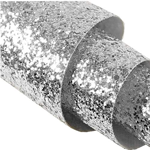 Self Adhesive Silver Chunky Glitter Wallpaper,Peel and Stick Roll Decor Sparkle Glitter Fabric (17.4in x 16.4ft One Roll)