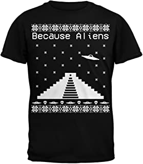 Because Aliens Pyramid Ugly Christmas Sweater Black Adult T-Shirt
