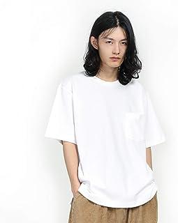 シャツ メンズ 半袖 大きいサイズ Tシャツ 無地 オーバーサイズ クルーネック ポケット付き 2020新品 肉厚生地 綿100%
