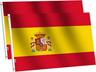 rhungift Bandera de España Grande 90x150cm- 2pcs Bandera de España balcón para Exterior Reforzada y con 2 Ojales metálico...