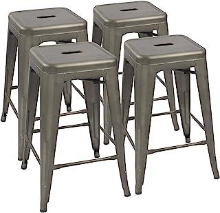 "Devoko Metal Bar Stools 24"" Indoor Outdoor Stackable Barstools Modern Style Industrial Vintage Counter Bar Stools Set of 4..."