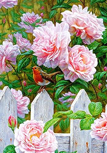 Xpboao Pintar por números - Pájaros y Flores de peonía Rosa - Pintura de Arte Moderno - Kit de Pintura de Bricolaje Adecuado para Adultos y Principiantes - 40x50cm - Sin Marco