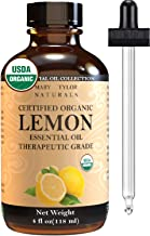 Organic Lemon Essential Oil (4 oz), USDA Certified by Mary Tylor Naturals, 100% Pure Essential Oil, Therapeutic Grade, Per...