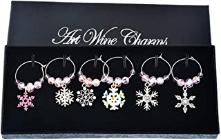 Souarts Mixed Christmas Snowflake Glass Wine Charms Markers Tag Pendant Set with Box Pack of 6pcs