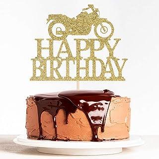 WeBenison Happy Birthday Cake Topper with Motorcycle Theme, Boy First Birthday Wild Boy Funny Birthday Party Decorations G...