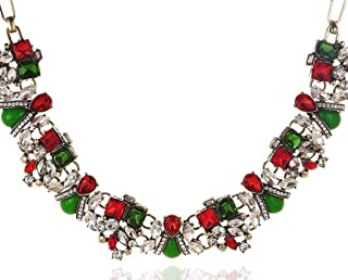Happy Holidays Statement Multicolored Sparkling Crystal Charms Necklace for Women